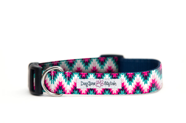 Pink and Black Tribal Dog Collar