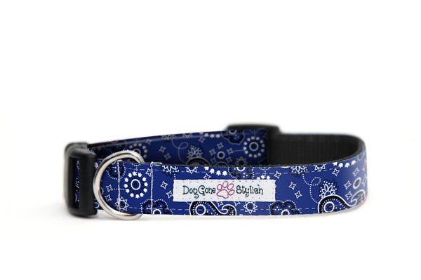 Blue Bandana Bow Tie and Dog Collar Set