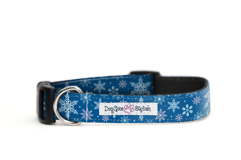 Holiday Blue Snowflake Dog Collar