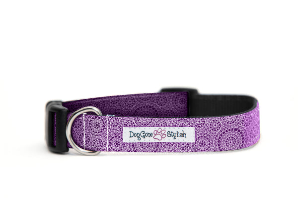 Purple Circles Dog Collar