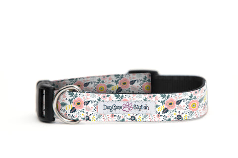 White and Pink Floral Dog Collar