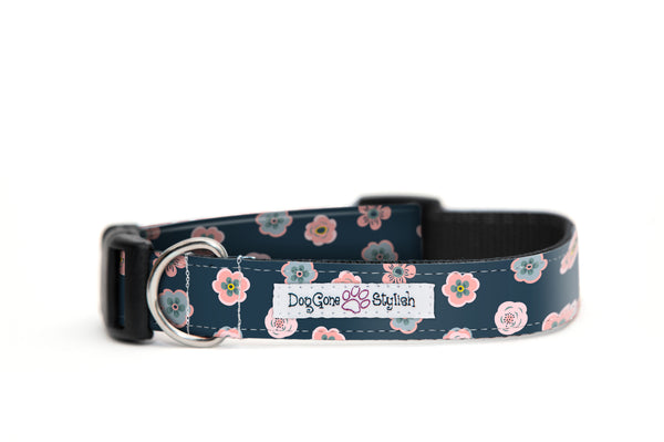 Navy and Pink Small Flowers Dog Collar