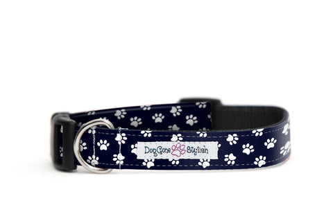 Black and White Paw Prints Dog Collar