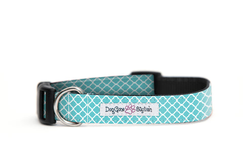 Teal and White Flower Dog Collar