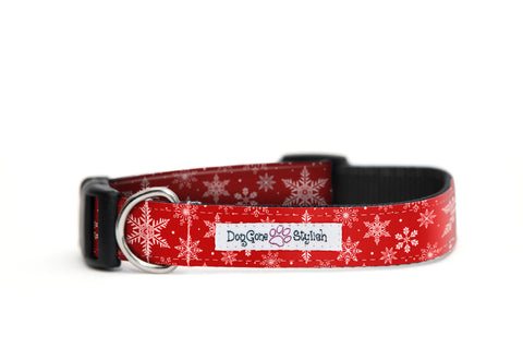 Holiday Red Snowflake Dog Collar