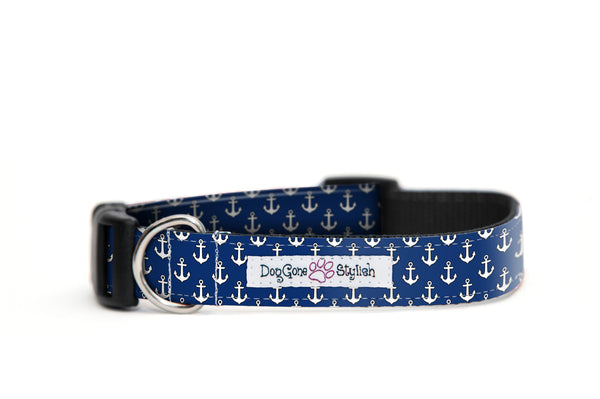 Blue and White Anchor Bow Tie and Dog Collar Set