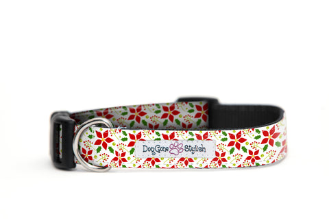 Holiday Christmas Poinsettia  Dog Collar
