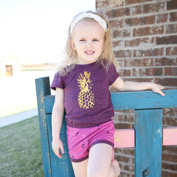 Pineapple Tee in Berry