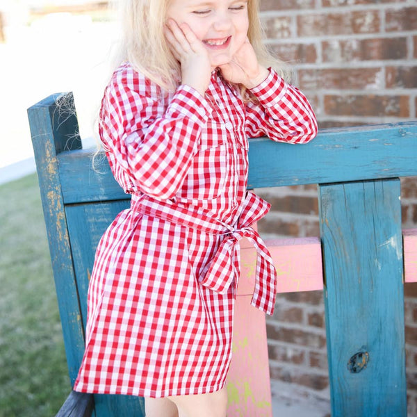 Red Belted Gingham Dress