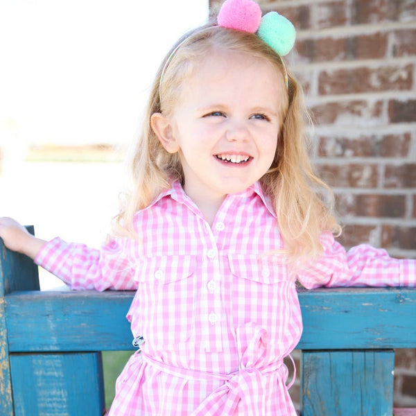 Pink Belted Gingham Dress