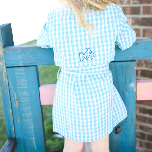 Blue Belted Gingham Dress
