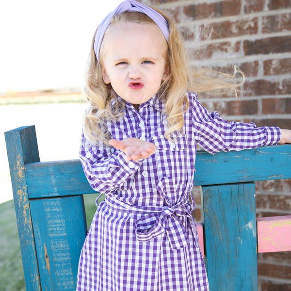 Purple Belted Gingham Dress