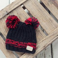 Black/Red Double Bobble Hat