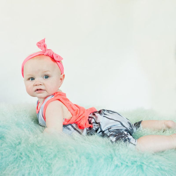 "Summer Palm Tree Print Baby Sleeveless ""No Snap"" Bodysuit in Watermelon"