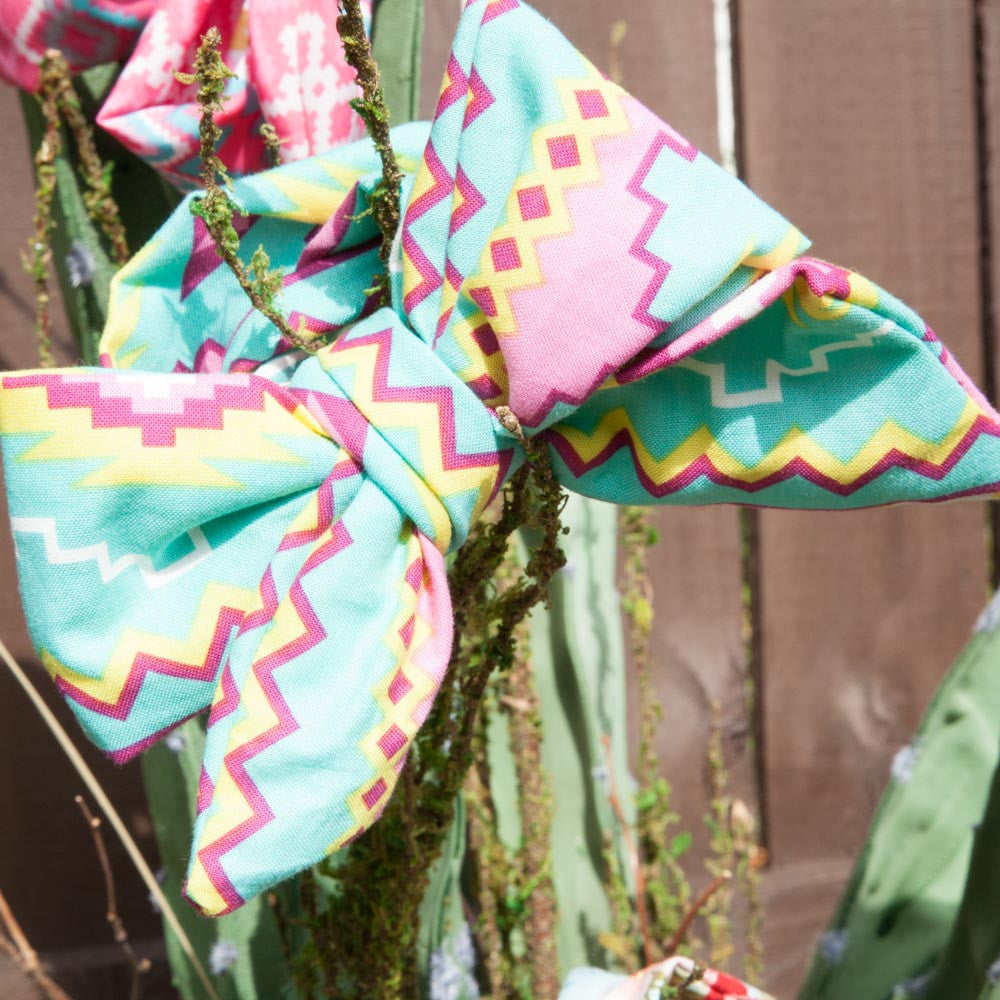 Turquoise & Pink Aztec Head Wrap