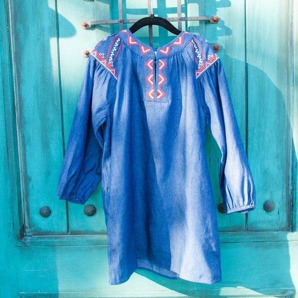Denim Tunic Dress w/ Embroidery
