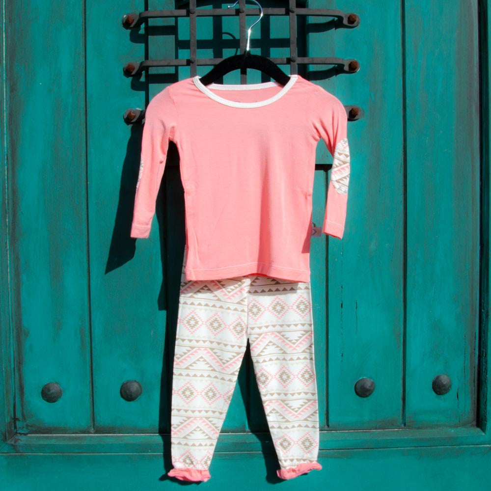 Elbow Patch Top and Pant Set in Sugar Pink Aztec