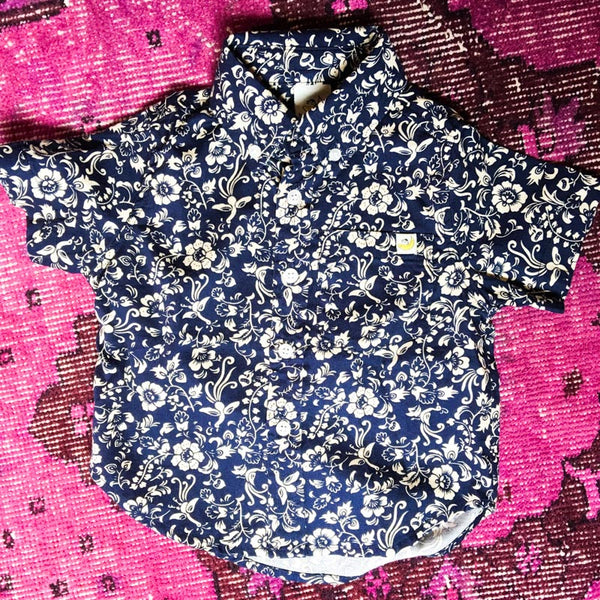 Navy Floral Short Sleeve