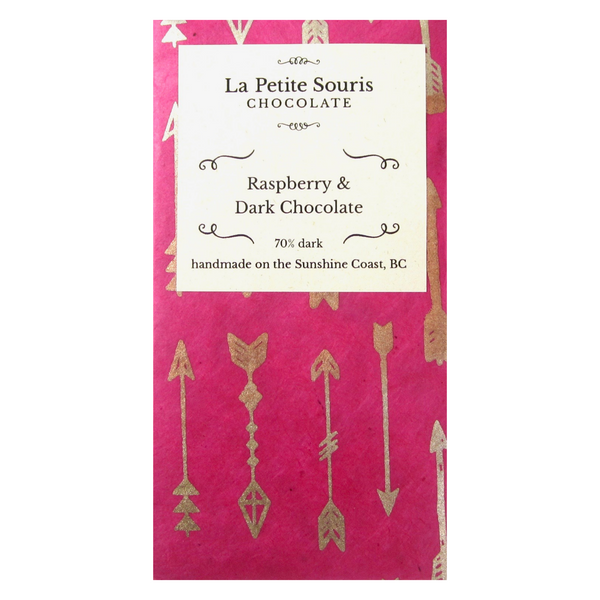 70% dark chocolate bar with real dried raspberry.  Wrapper features bright pink colour with silver arrows.