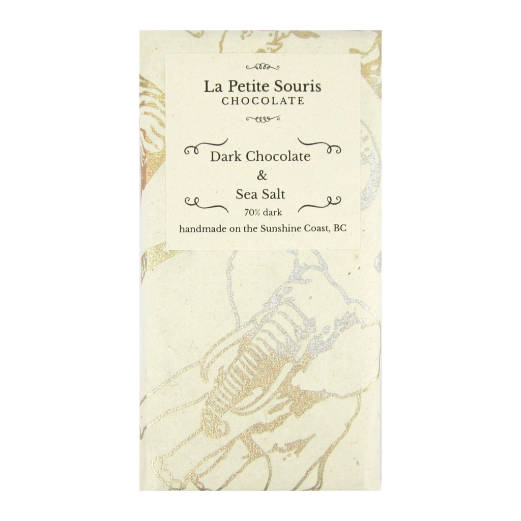 70% dark chocolate bar with sea salt, in a natural colour paper wrapper with a pattern of large animals such as giraffe, elephant, rhino in gold.