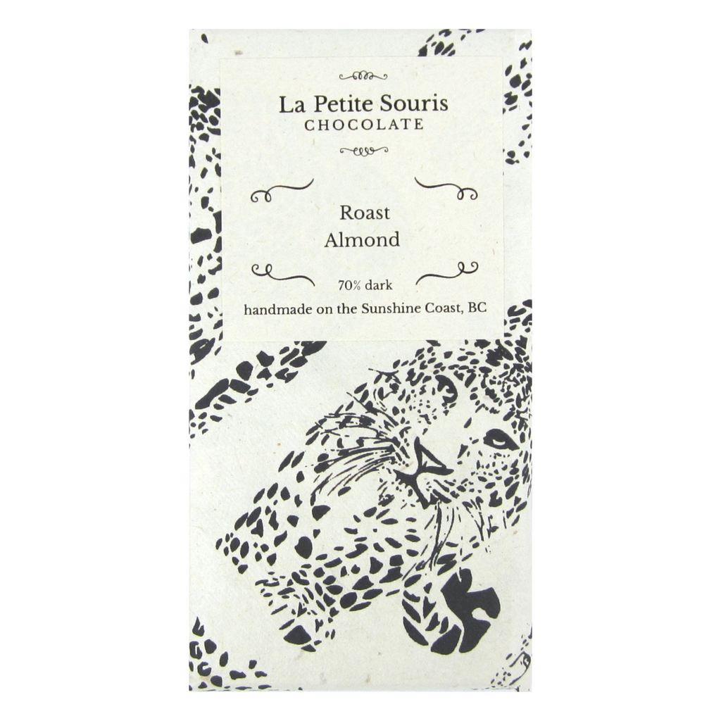 Our Roast Almond bar in natural paper, with a cheetah pattern.