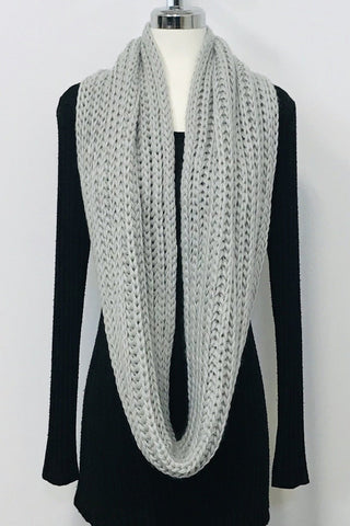 Cable Knit Infinity Scarf - Grey