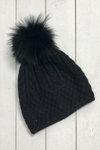 Cashmere Blend Winter Hat - Black