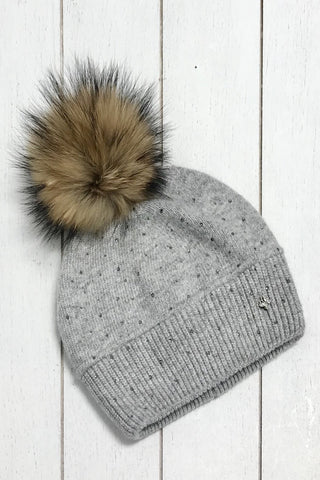 Cashmere Blend Winter Hat - Grey