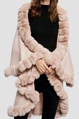 Faux Fur Trim Cape - Blush