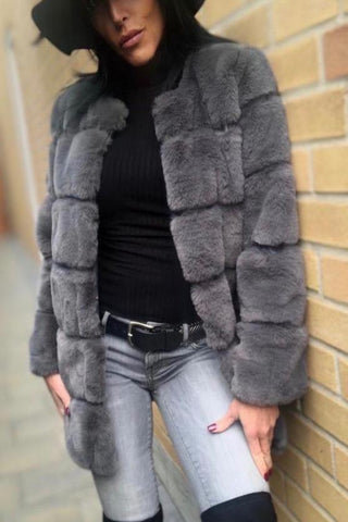 Faux Fur Bomber Jacket - Grey