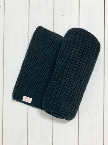 Weave Knit Infinity Scarf - Black