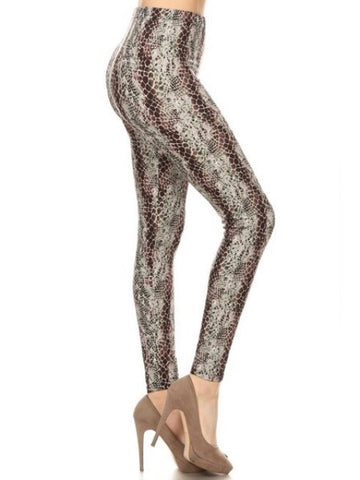 Mint Snakeskin Print Leggings
