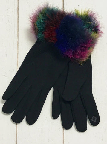 Colorful Fur Trim Touchscreen Gloves