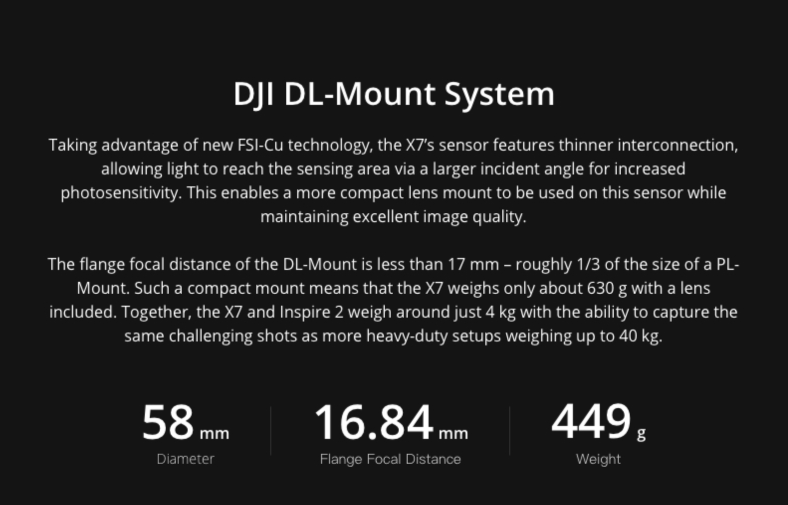 DJI Zenmuse X7 Camera and DJI Zenmuse X7 DL/DL-S Lenses