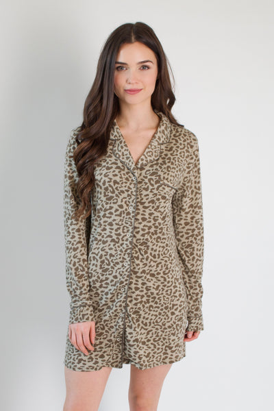Leopard Pajama Dress / Taupe