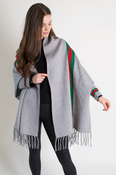 The New Stripes Poncho // Grey