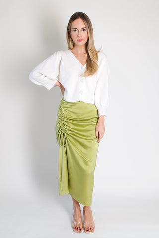 Lime Silky Skirt