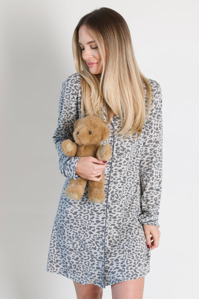 Leopard Pajama Dress / Grey