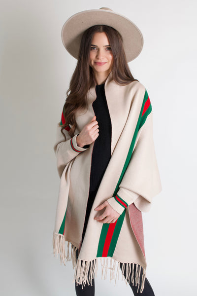 The New Stripes Poncho // Cream