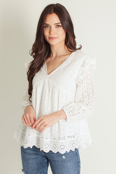 Madison Eyelet Top // White