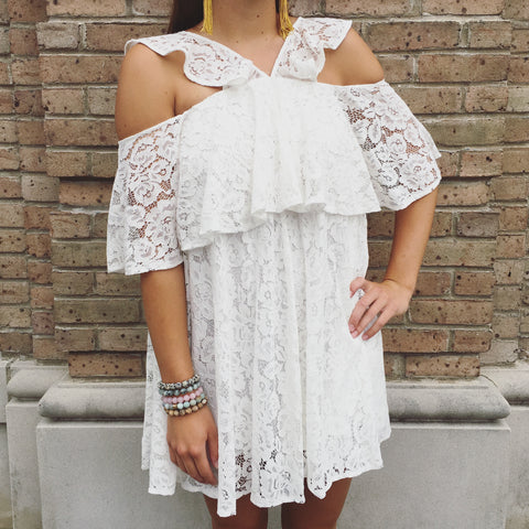 The White Lace Ruffle Dress