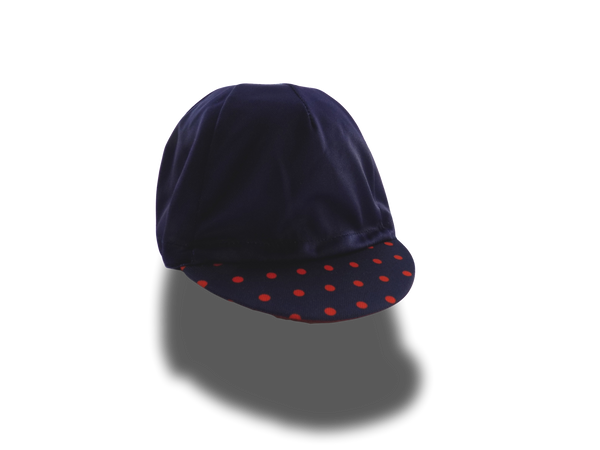The Navy and Orange Polka Dots Dearborn Cycling Cap