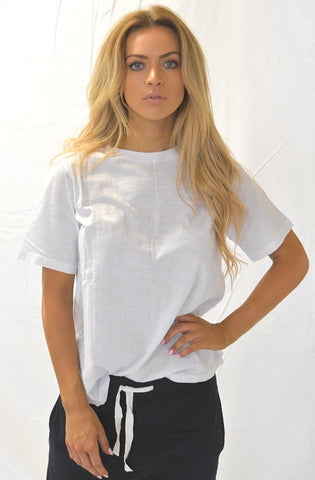 Amethyst Split Back Tee - White