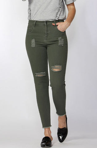 Angus Ripped Jeans - Sage