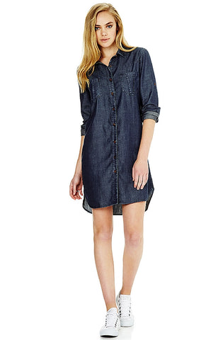 Hannah - Dark Indigo Shirtdress by Mavi - Picpoket