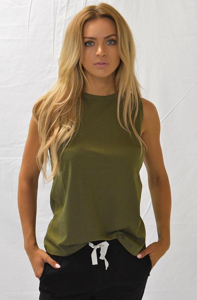 Marty Muscle Tank - Khaki by Nude Lucy - Picpoket