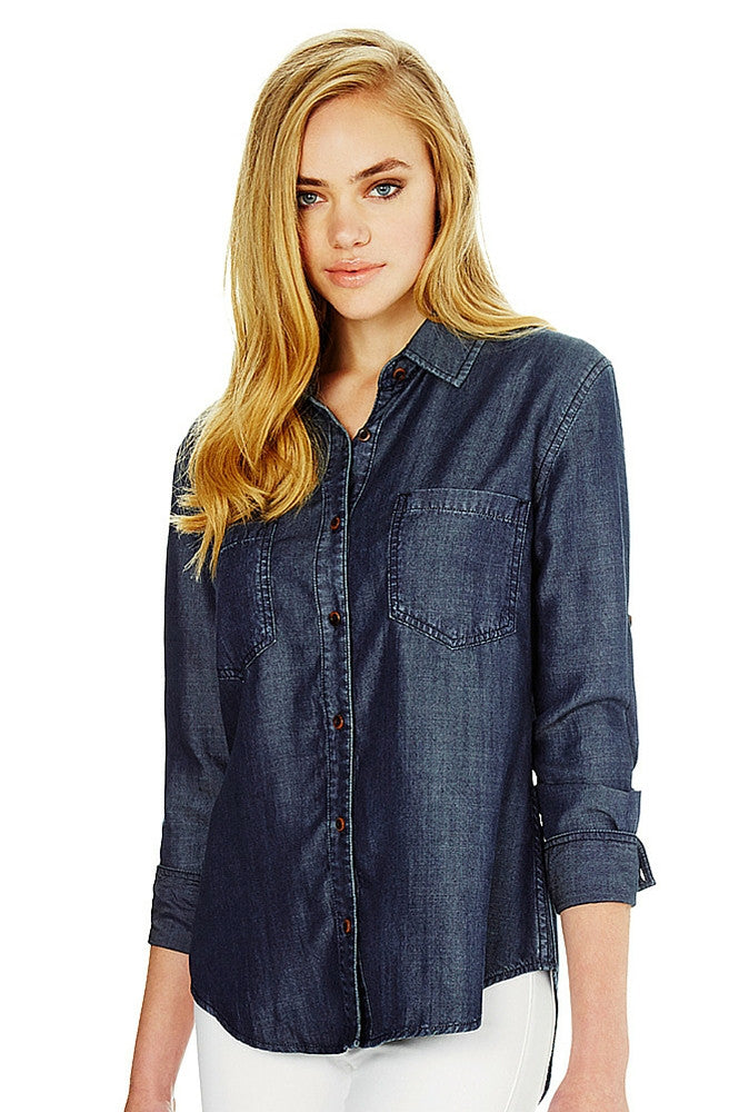 Anya Dark Indigo Oversized Shirt by Mavi - Picpoket