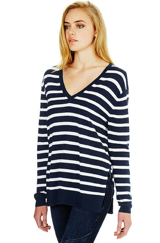 Maya - Ink Winter White Stripe Top