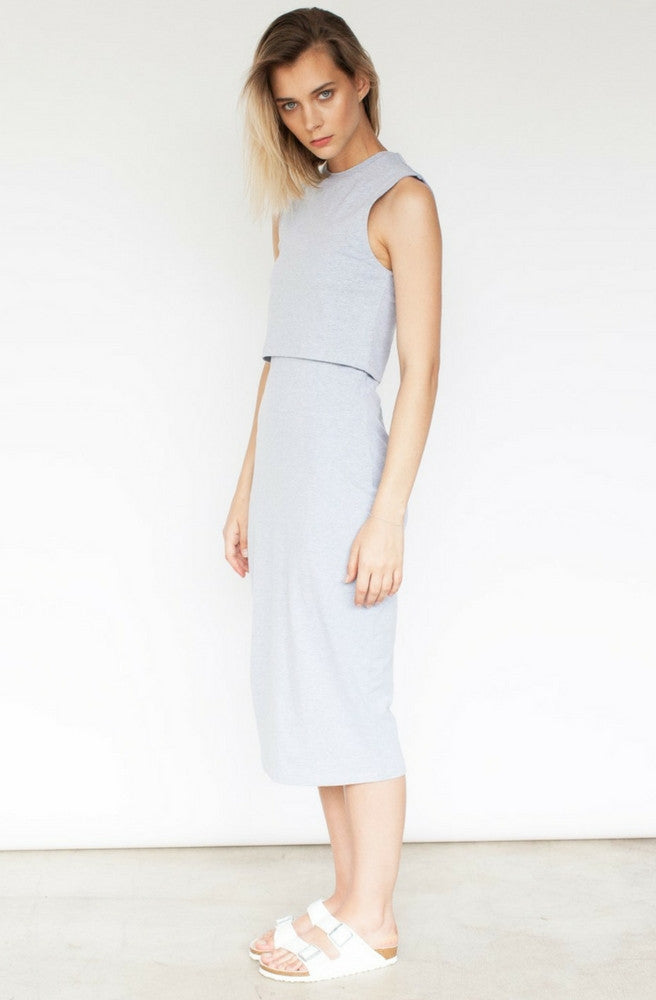 Elke Layered Midi Dress - Grey Marle by Nude Lucy - Picpoket