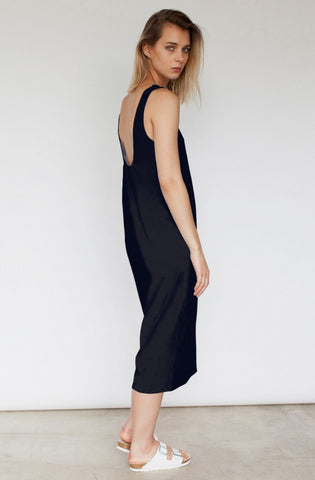 Jette Scooped Back Midi Dress - Black